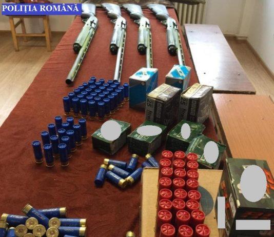 Patru arme de vânătoare și peste 400 de cartușe confiscate de la 4 cetățeni străini